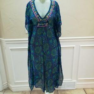 Antik Batik Bora printed silk kaftan
